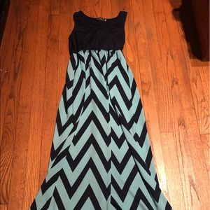 Dark blue and teal chevron print Maxi Dress!